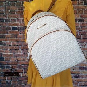 Michael Kors Large Abbey Vanilla Backpack Acorn